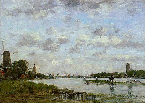 View of Dordrecht, 1884 | Eugene Boudin | Painting Reproduction