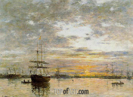 Eugene Boudin | The Port of Le Havre at Sunset, 1882