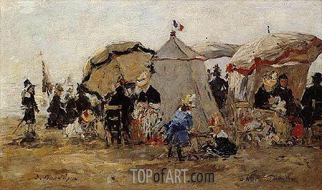 Women and Children on the Beach at Trouville, 1880 | Eugene Boudin | Painting Reproduction