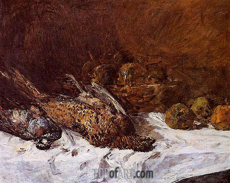 Still Life with Pheasants and a Basket of Apples, c.1880/85 | Eugene Boudin | Painting Reproduction