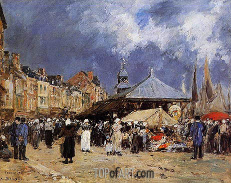Eugene Boudin | Market at Trouville, 1876