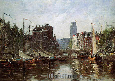 Rotterdam, Le Pont de Bourse, 1876 | Eugene Boudin | Painting Reproduction