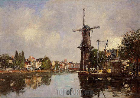 View of Rotterdam, c.1876/80 | Eugene Boudin | Painting Reproduction