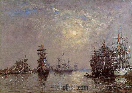 Eugene Boudin | Le Havre; European Basin, Sailing Ships at Anchor, 1870
