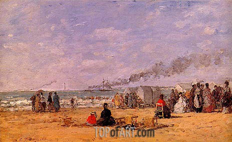The Beach at Trouville, 1868 | Eugene Boudin | Painting Reproduction