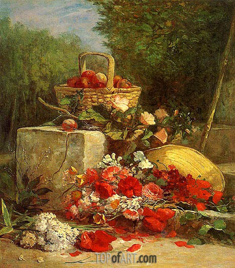 Flowers and Fruit in a Garden, 1869 | Eugene Boudin | Painting Reproduction