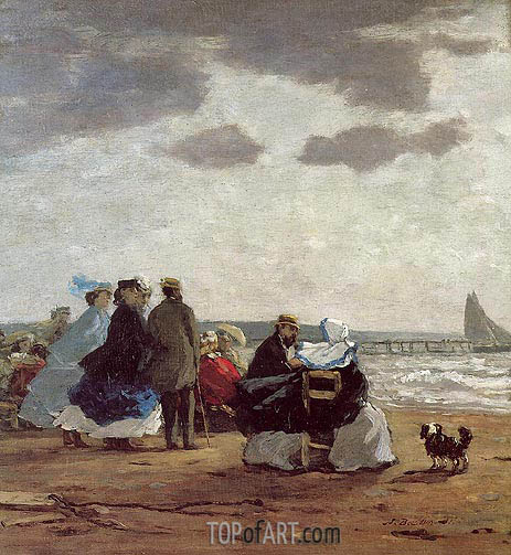 On the Beach, Dieppe, 1864 | Eugene Boudin | Painting Reproduction