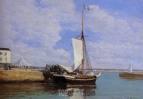 Honfleur, the Port, Docked Sailboat, c.1856/60 | Eugene Boudin | Painting Reproduction