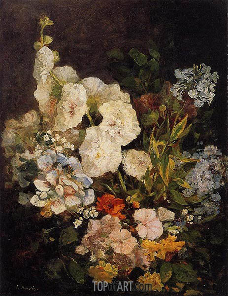 Spray of Flowers - Holyhocks, 1858 | Eugene Boudin | Painting Reproduction
