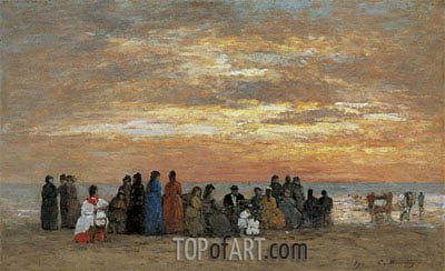Eugene Boudin | Figures on the Beach in Trouville, 1869