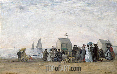 The Beach at Trouville, 1867 | Eugene Boudin| Painting Reproduction