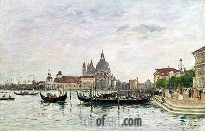Santa Maria della Salute and the Dogana, Venice, 1895 | Eugene Boudin| Painting Reproduction