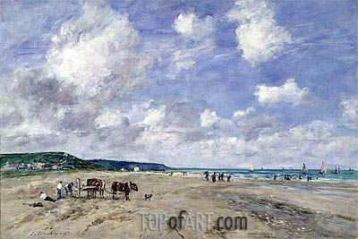 The Beach at Tourgeville, 1893 | Eugene Boudin| Painting Reproduction
