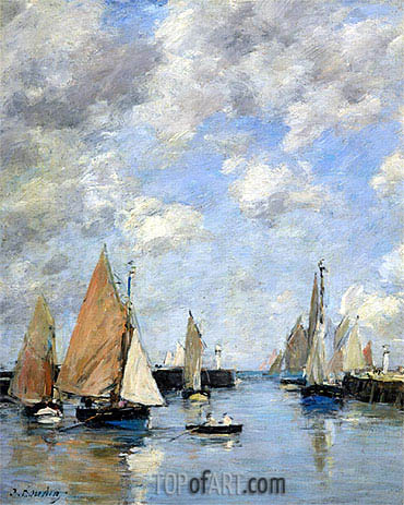 The Jetty at High Tide, Trouville,  | Eugene Boudin | Gemälde Reproduktion
