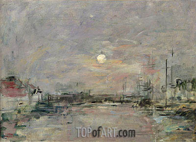 Dusk on the Commercial Dock at Le Havre, c.1892/94 | Eugene Boudin | Painting Reproduction