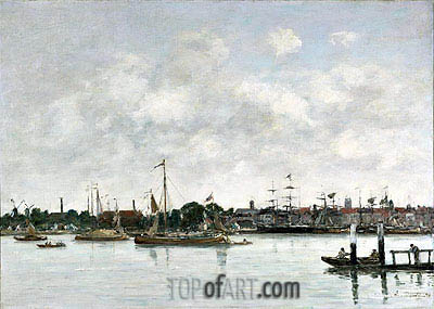 The Meuse at Dordrecht, 1874 | Eugene Boudin| Painting Reproduction