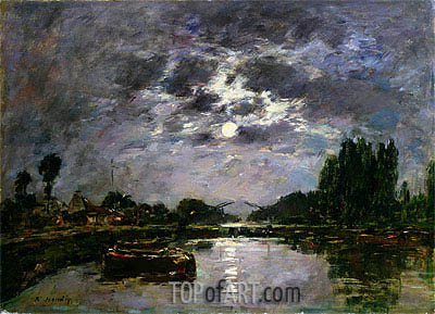The Effect of the Moon, 1891 | Eugene Boudin| Gemälde Reproduktion