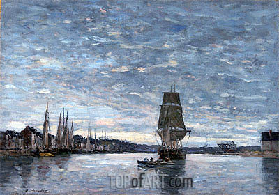 View of the Basin at Trouville,  | Eugene Boudin| Painting Reproduction