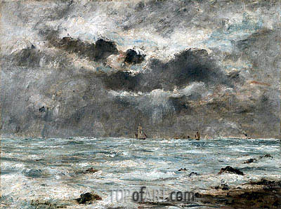 The Coast at Trouville, 1865 | Eugene Boudin | Painting Reproduction