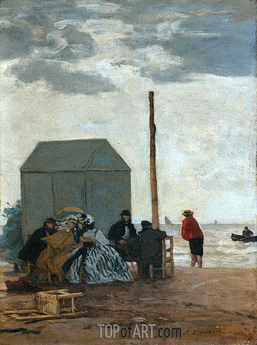 The Beach at Deauville, 1864 | Eugene Boudin| Painting Reproduction