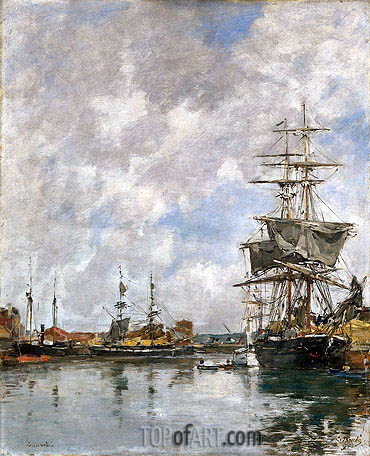Deauville Harbor, 1891 | Eugene Boudin | Painting Reproduction