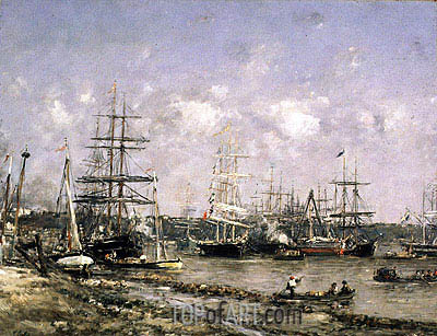 Bordeaux, the Port, undated | Eugene Boudin| Painting Reproduction
