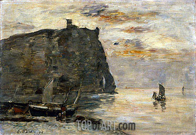 Falaises a Etretat, 1894 | Eugene Boudin | Painting Reproduction