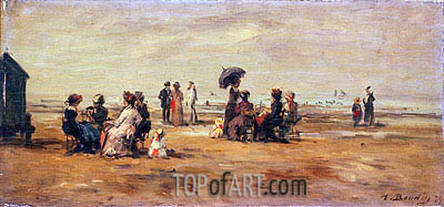 The Beach at Trouville, 1879 | Eugene Boudin | Painting Reproduction