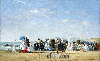 Fashionable Figures on the Beach, 1865 | Eugene Boudin| Painting Reproduction