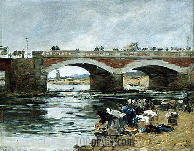Washerwomen near a Bridge, 1883 | Eugene Boudin| Gemälde Reproduktion
