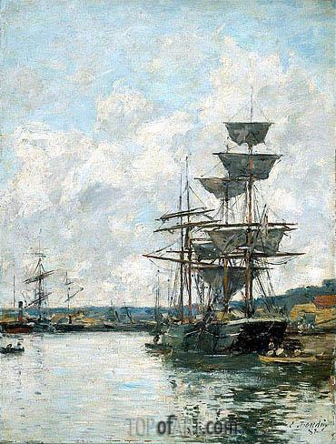 Eugene Boudin | Ships at Le Havre, 1887