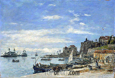 Eugene Boudin | Quay at Villefranche, 1892