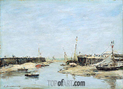 Trouville Les Jetees a Maree Basse, 1885 | Eugene Boudin| Painting Reproduction