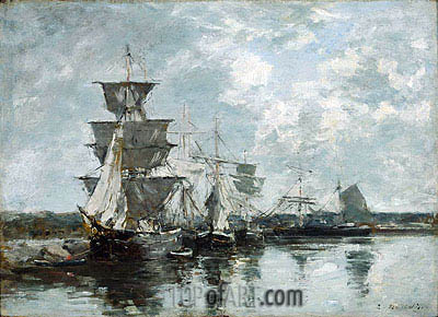 Harbor Scene, undated | Eugene Boudin| Painting Reproduction