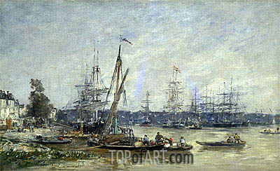 Harbor at Bordeaux, 1874 | Eugene Boudin| Painting Reproduction