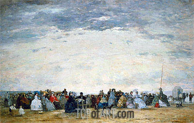 Vacationers on the Beach at Trouville, 1864 | Eugene Boudin | Painting Reproduction