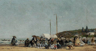 Trouville Beach, 1864 | Eugene Boudin| Painting Reproduction
