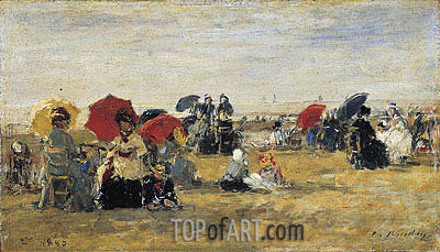 Beach Scene at Trouville, 1880 | Eugene Boudin | Gemälde Reproduktion