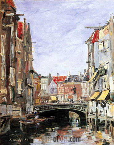 The Place Ary Scheffer, Dordrecht, 1884 | Eugene Boudin| Painting Reproduction