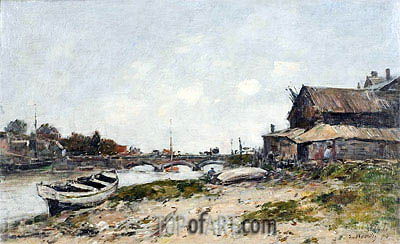 The Bridge over the River Touques at Deauville, 1894 | Eugene Boudin | Painting Reproduction