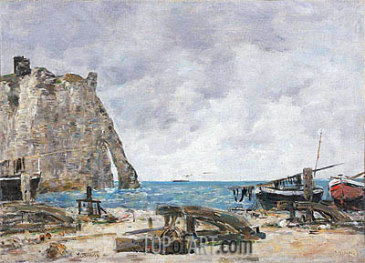 Beach at Etretat, 1890 | Eugene Boudin | Painting Reproduction