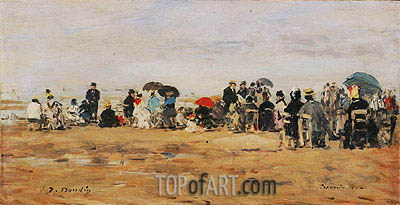 Beach at Trouville, 1880 | Eugene Boudin| Painting Reproduction