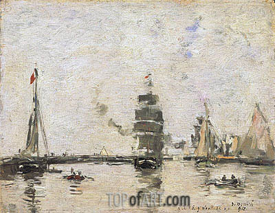 Boats in Trouville Harbor, 1894 | Eugene Boudin| Gemälde Reproduktion
