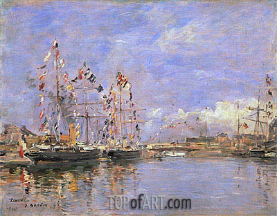 Deauville, Flag-Decked Ships in the Inner Harbor, 1896 | Eugene Boudin | Painting Reproduction
