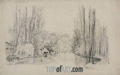 River Landscape with Houses and Bridge, late 1850s | Eugene Boudin| Painting Reproduction