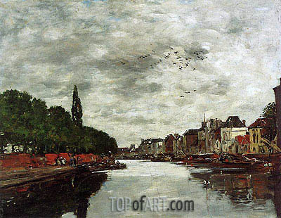 A Canal near Brussels, 1891 | Eugene Boudin | Painting Reproduction