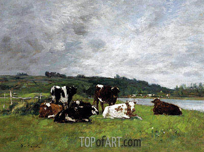 Cows in the Pasture, c.1880/85 | Eugene Boudin | Painting Reproduction