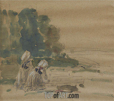 Les Laveuses,  | Eugene Boudin | Painting Reproduction