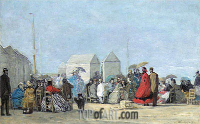 Beach Scene at Trouville, 1864 | Eugene Boudin | Painting Reproduction