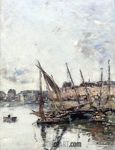 The Harbour of Trouville, Low Tide, 1894 | Eugene Boudin | Painting Reproduction